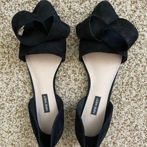 Nine West Suede D'Orsay Bow Flats